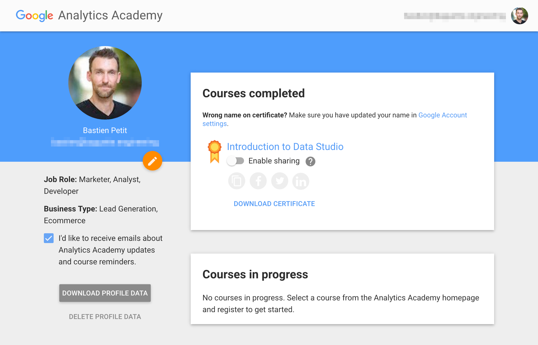 Google Data Studio certification